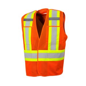 FIVE POINT TEAR-AWAY MESH SAFETY VEST WITH FOUR POCKETS Thumbnail